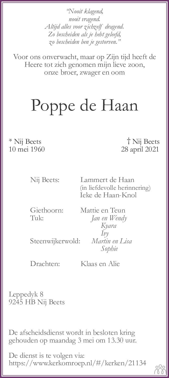 Overlijdensbericht van Poppe de Haan in Friesch Dagblad