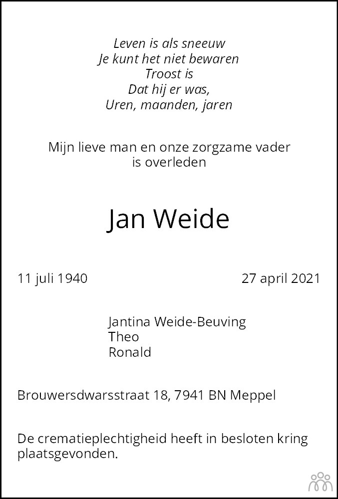 Overlijdensbericht van Jan Weide in Meppeler Courant