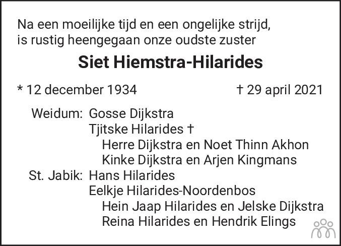 Overlijdensbericht van Sietske (Siet) Hiemstra-Hilarides in Leeuwarder Courant