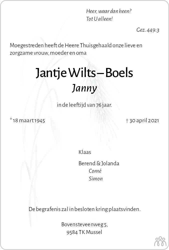 Overlijdensbericht van Jantje (Janny) Wilts-Boels in Dagblad van het Noorden