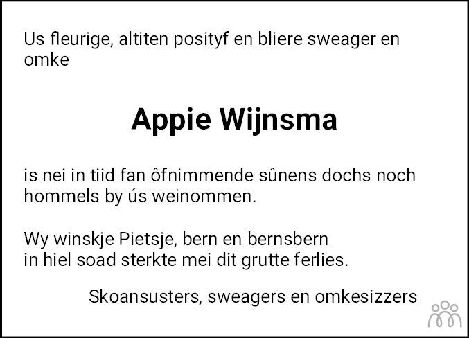 Overlijdensbericht van Appie Wijnsma in Leeuwarder Courant