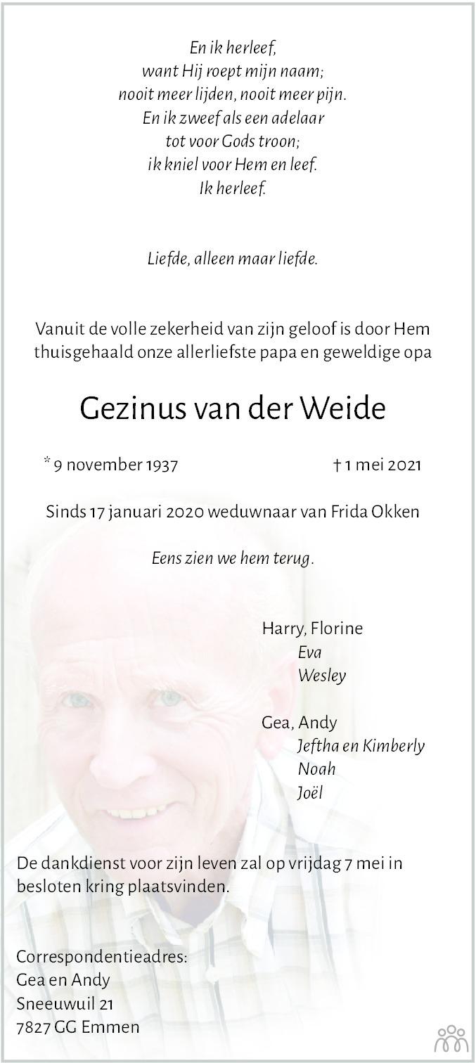 Overlijdensbericht van Gezinus van der Weide in Hoogeveensche Courant