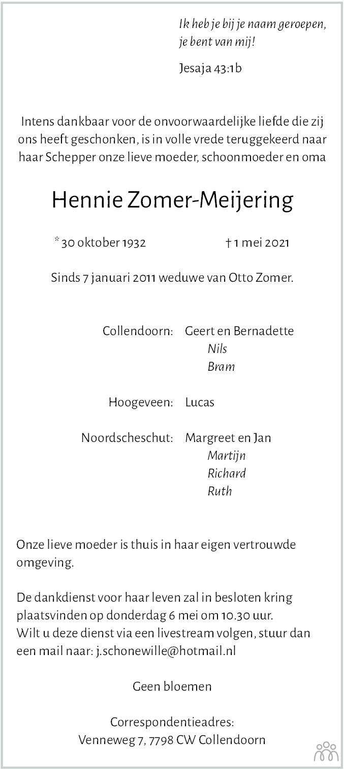 Overlijdensbericht van Hennie Zomer-Meijering in Hoogeveensche Courant