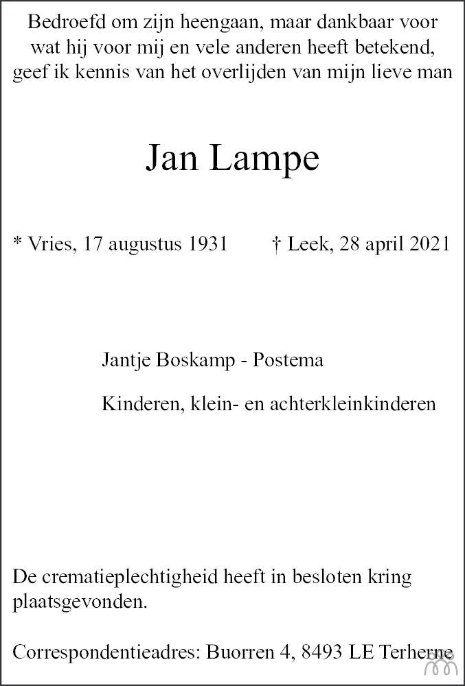 Overlijdensbericht van Jan Lampe in Westerkwartier