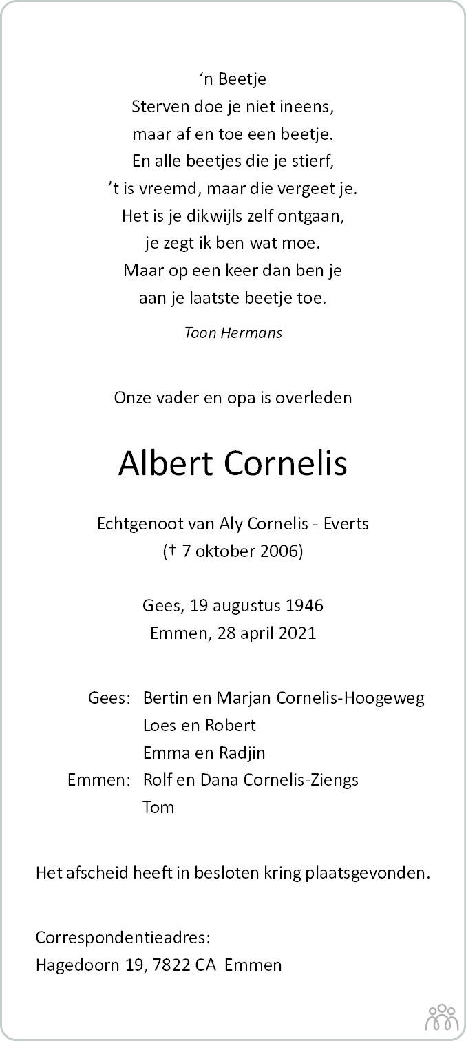 Overlijdensbericht van Albert Cornelis in Coevorden Huis aan Huis
