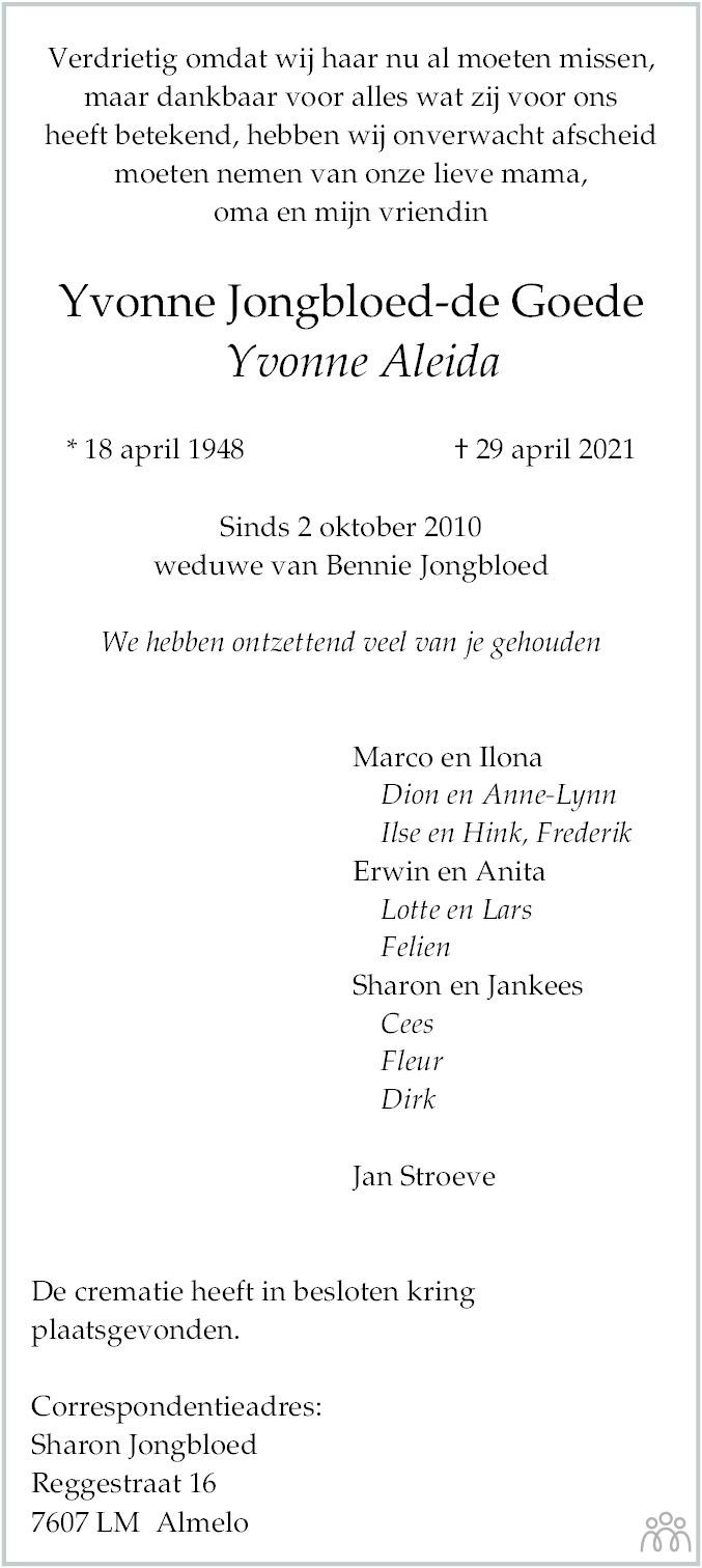 Overlijdensbericht van Yvonne Aleida Jongbloed-de Goede in Coevorden Huis aan Huis