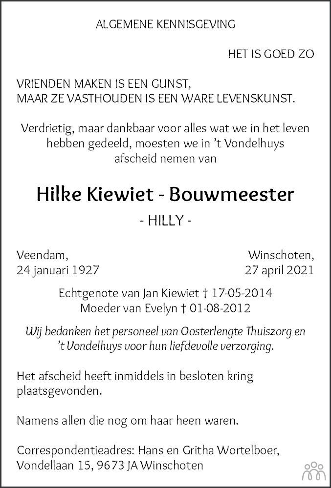 Overlijdensbericht van Hilke (Hilly) Kiewiet-Bouwmeester in Dagblad van het Noorden