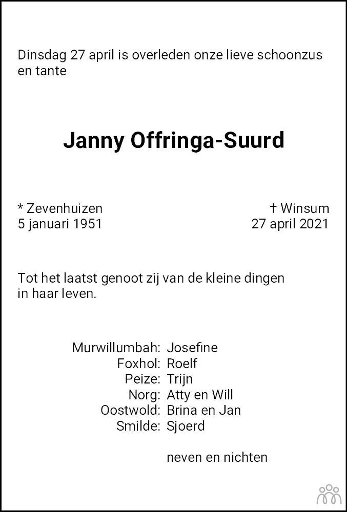 Overlijdensbericht van Janny Offringa-Suurd in Dagblad van het Noorden