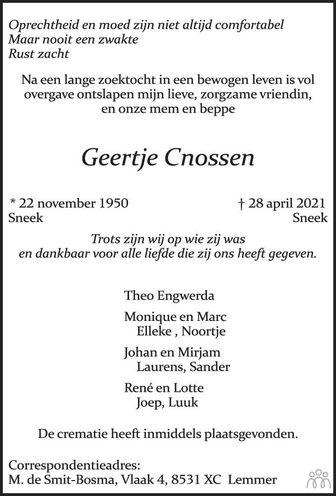 Overlijdensbericht van Geertje Cnossen in Leeuwarder Courant