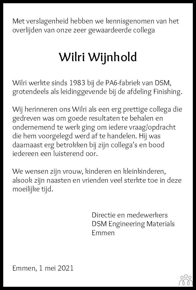 Overlijdensbericht van Wilri Wijnhold in Dagblad van het Noorden