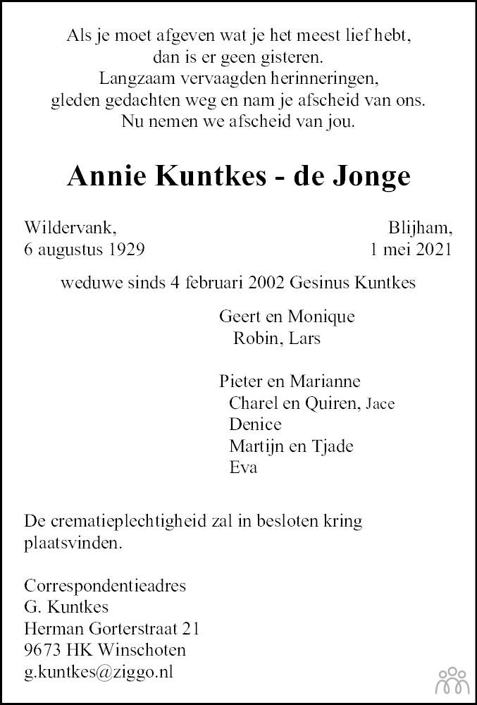Overlijdensbericht van Annie Kuntkes-de Jonge in Dagblad van het Noorden