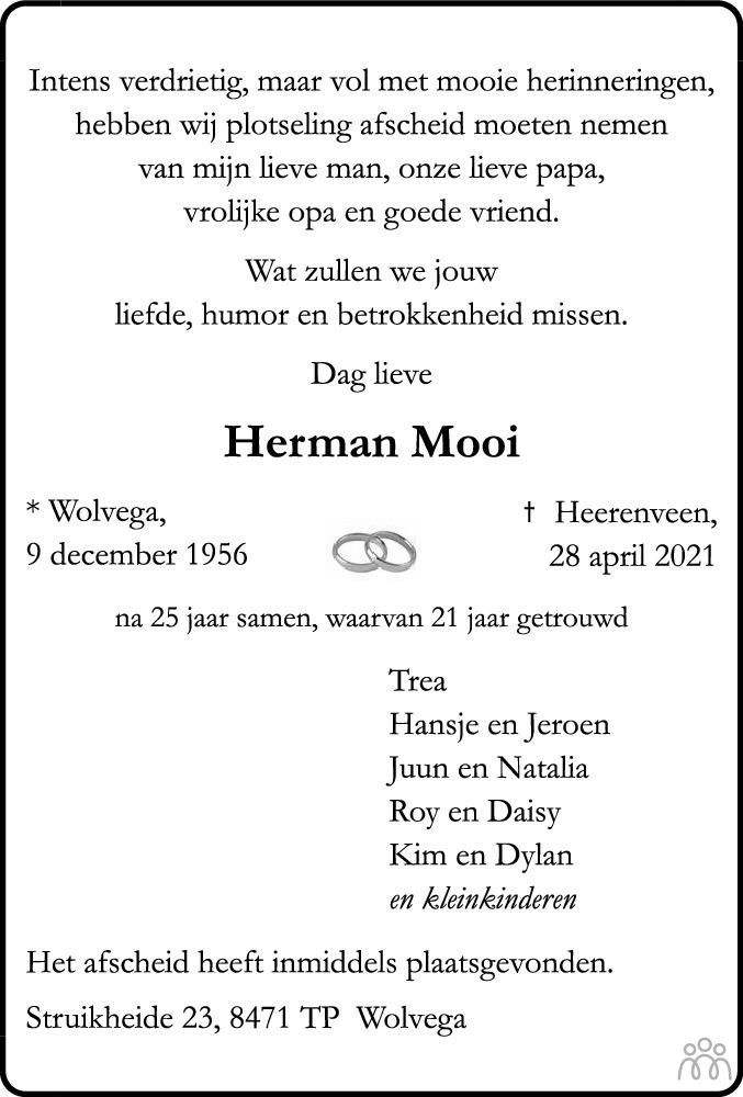 Overlijdensbericht van Herman Mooi in De Stellingwerf