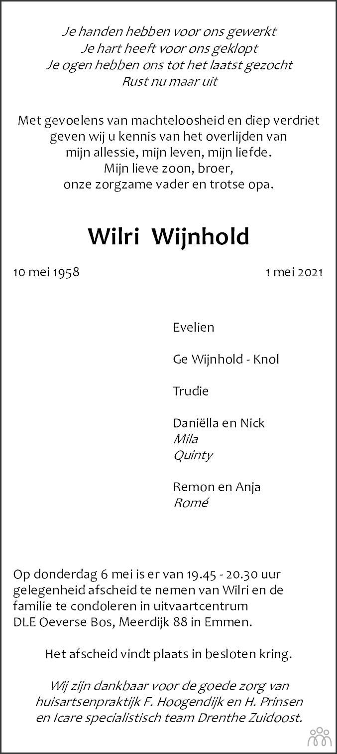 Overlijdensbericht van Wilri Wijnhold in Emmen Nu