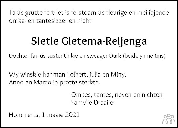 Overlijdensbericht van Sietie Gietema-Reijenga in Leeuwarder Courant