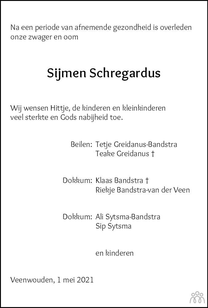 Overlijdensbericht van Sijmen Schregardus in Nieuwsblad Noordoost-Friesland