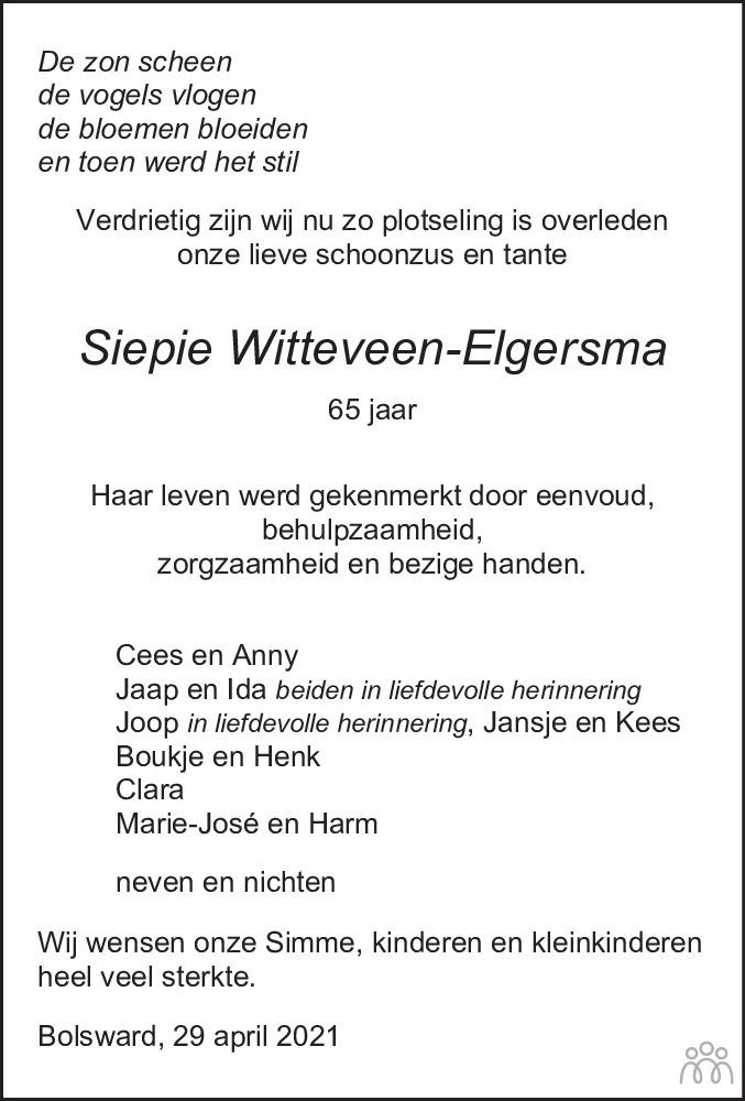 Overlijdensbericht van Sybrigje (Siepie) Witteveen-Elgersma in Leeuwarder Courant