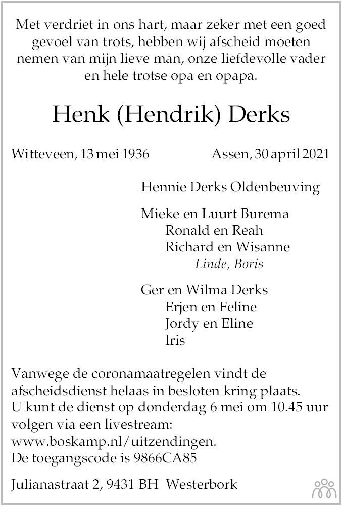 Overlijdensbericht van Henk (Hendrik) Derks in Dagblad van het Noorden
