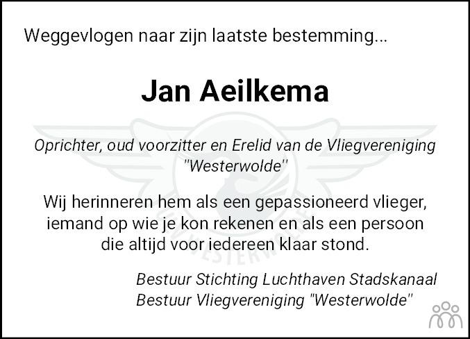 Overlijdensbericht van Jan Aeilkema in Dagblad van het Noorden