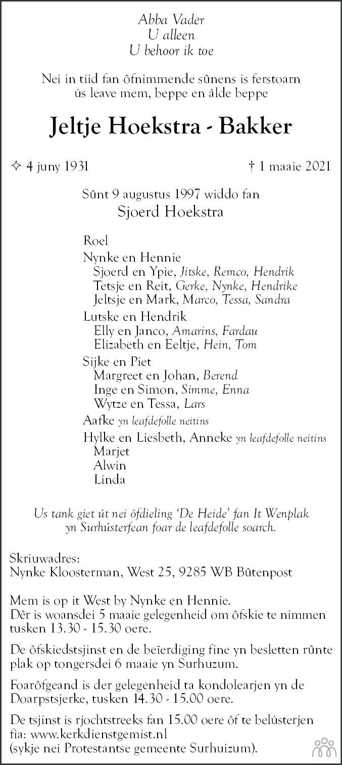 Overlijdensbericht van Jeltje Hoekstra-Bakker in Leeuwarder Courant