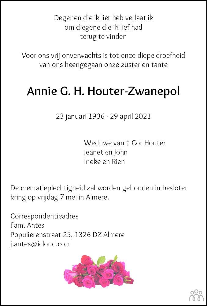 Overlijdensbericht van Annie G.H. Houter-Zwanepol in Meppeler Courant