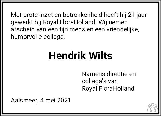 Overlijdensbericht van Hendrik Wilts in Dagblad van het Noorden