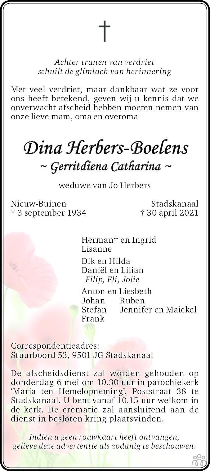 Overlijdensbericht van Gerritdiena Catharina (Dina) Herbers-Boelens in Dagblad van het Noorden
