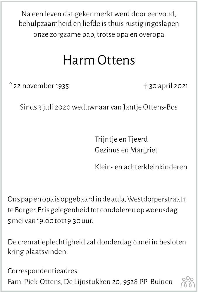Overlijdensbericht van Harm Ottens in Dagblad van het Noorden