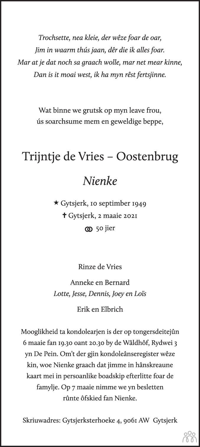 Overlijdensbericht van Trijntje (Nienke) de Vries-Oostenbrug in Leeuwarder Courant