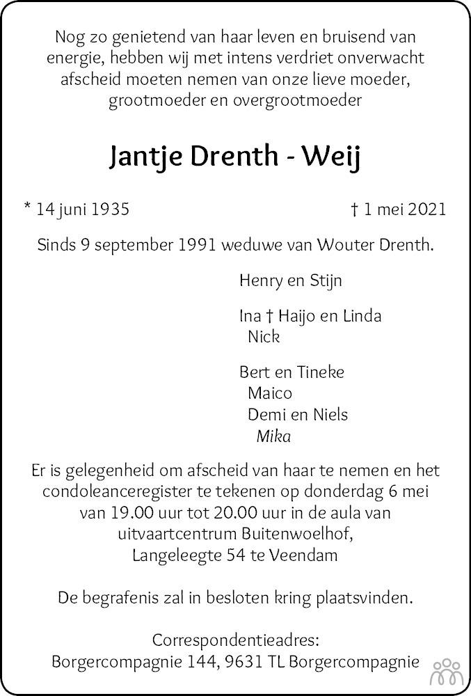Overlijdensbericht van Jantje Drenth-Weij in Dagblad van het Noorden