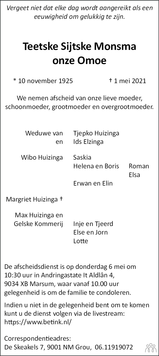 Overlijdensbericht van Teetske Sijtske Monsma in Leeuwarder Courant