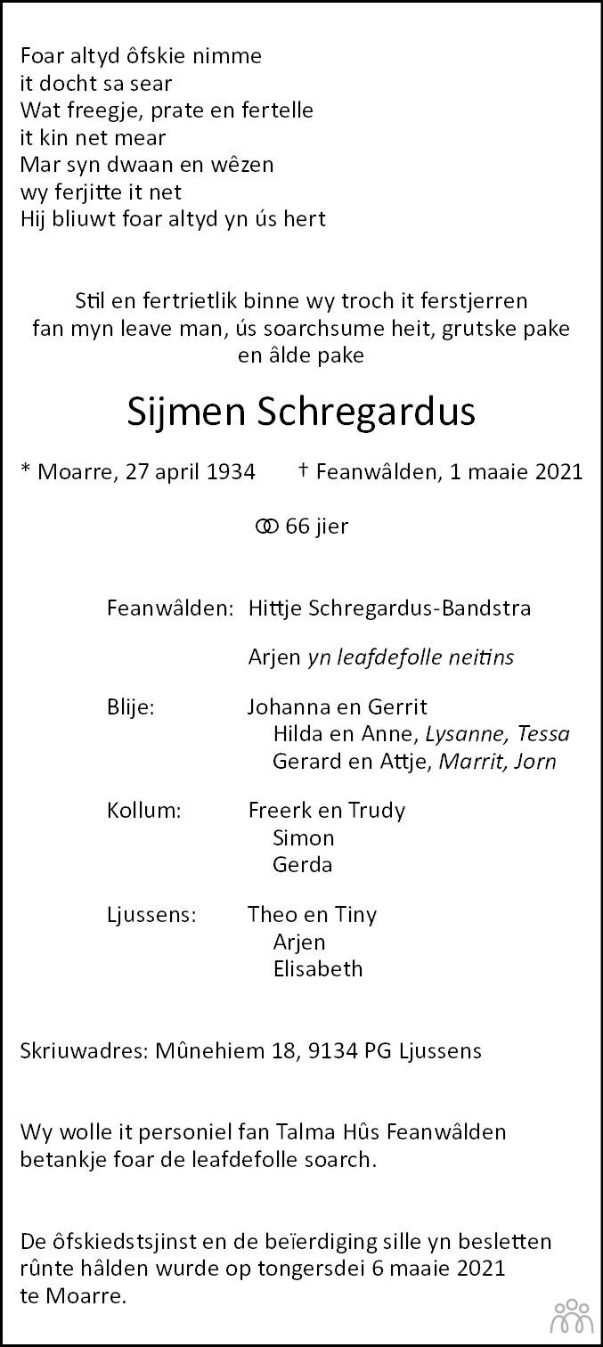 Overlijdensbericht van Sijmen Schregardus in Leeuwarder Courant