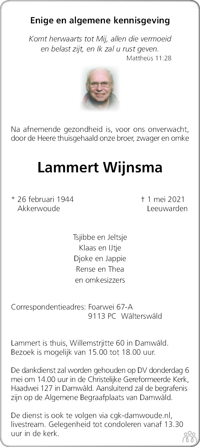 Overlijdensbericht van Lammert Wijnsma in Friesch Dagblad