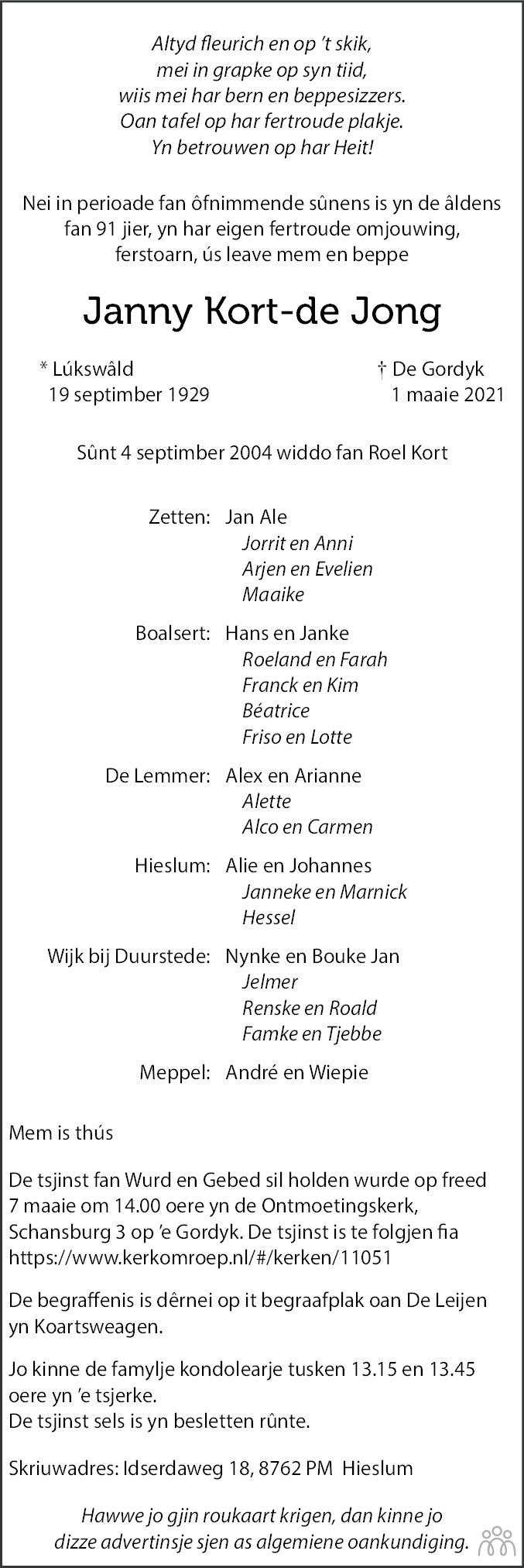 Overlijdensbericht van Janny Kort-de Jong in Leeuwarder Courant