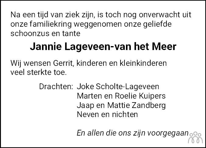Overlijdensbericht van Jannie Lageveen-van het Meer in Leeuwarder Courant