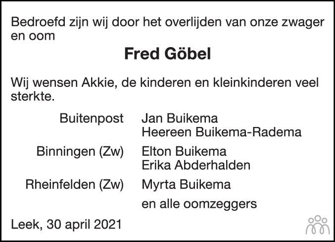 Overlijdensbericht van Friedl (Fred) Göbel in Dagblad van het Noorden