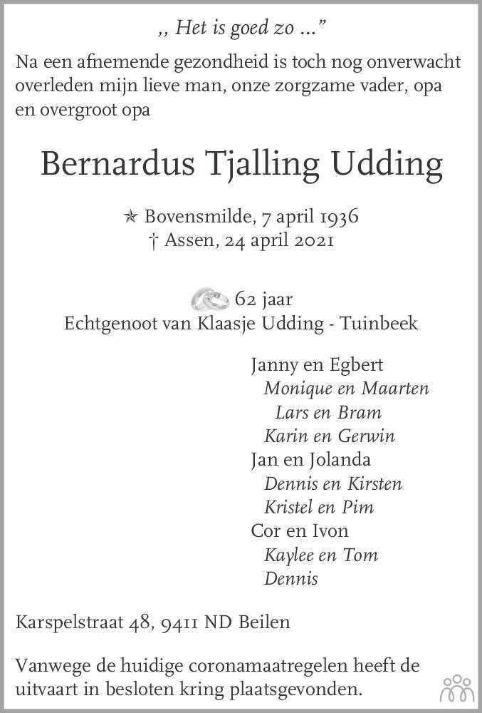 Overlijdensbericht van Bernardus Tjalling Udding in De krant van Midden-Drenthe