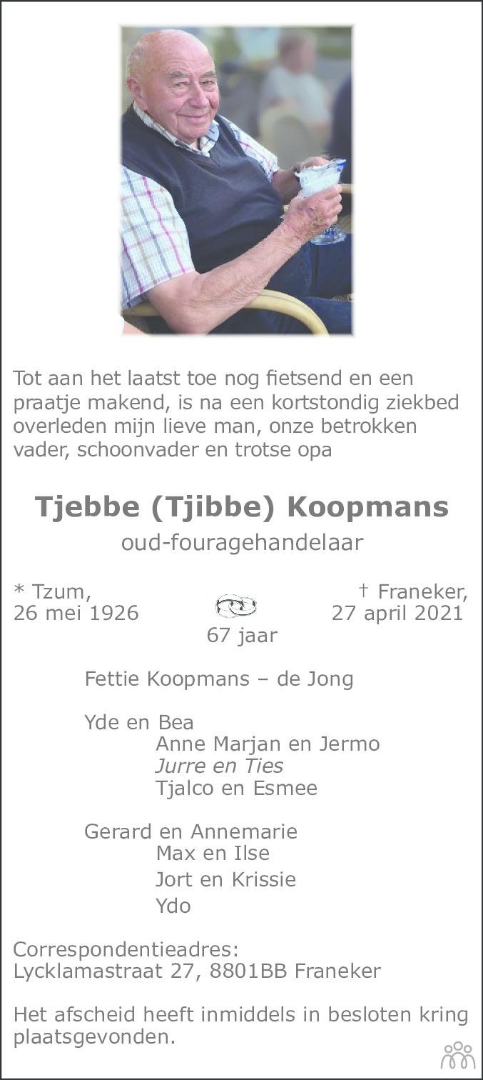 Overlijdensbericht van Tjebbe (Tjibbe) Koopmans in Franeker Courant