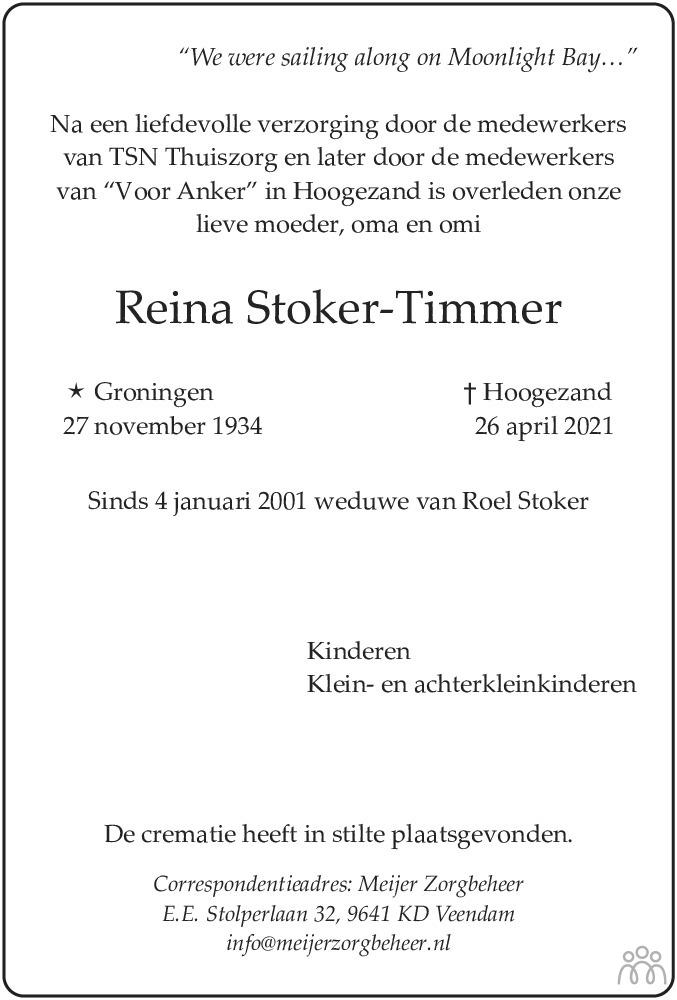 Overlijdensbericht van Reina Stoker-Timmer in HS-krant