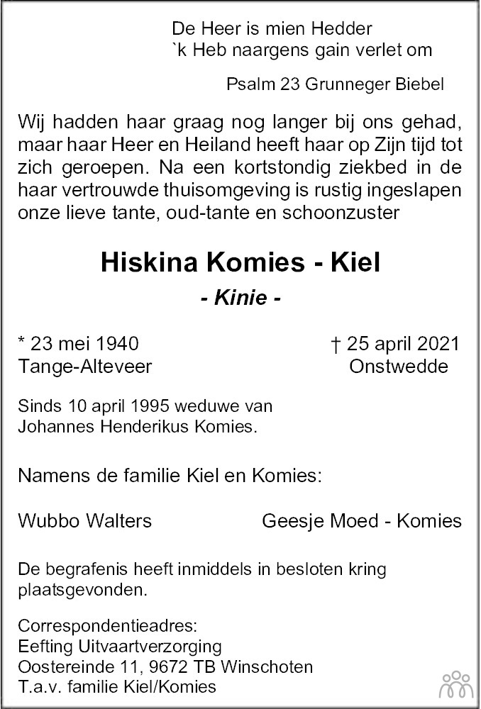 Overlijdensbericht van Hiskina (Kinie) Komies-Kiel in Streekblad/Pekelder Streekblad