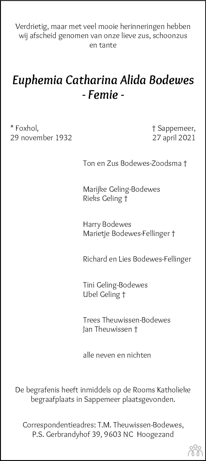 Overlijdensbericht van Euphemia Catharina Alida (Femie) Bodewes in HS-krant