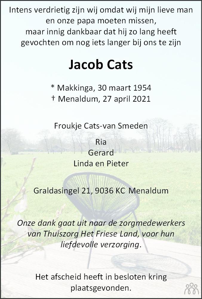 Overlijdensbericht van Jacob Cats in Franeker Courant