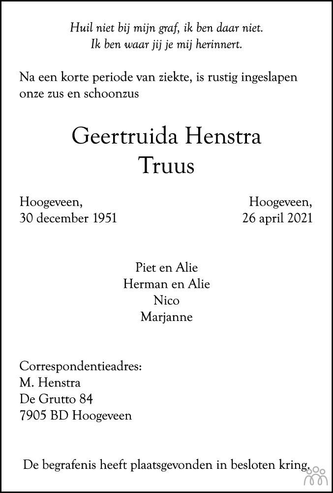 Overlijdensbericht van Geertruida (Truus) Henstra in Hoogeveensche Courant