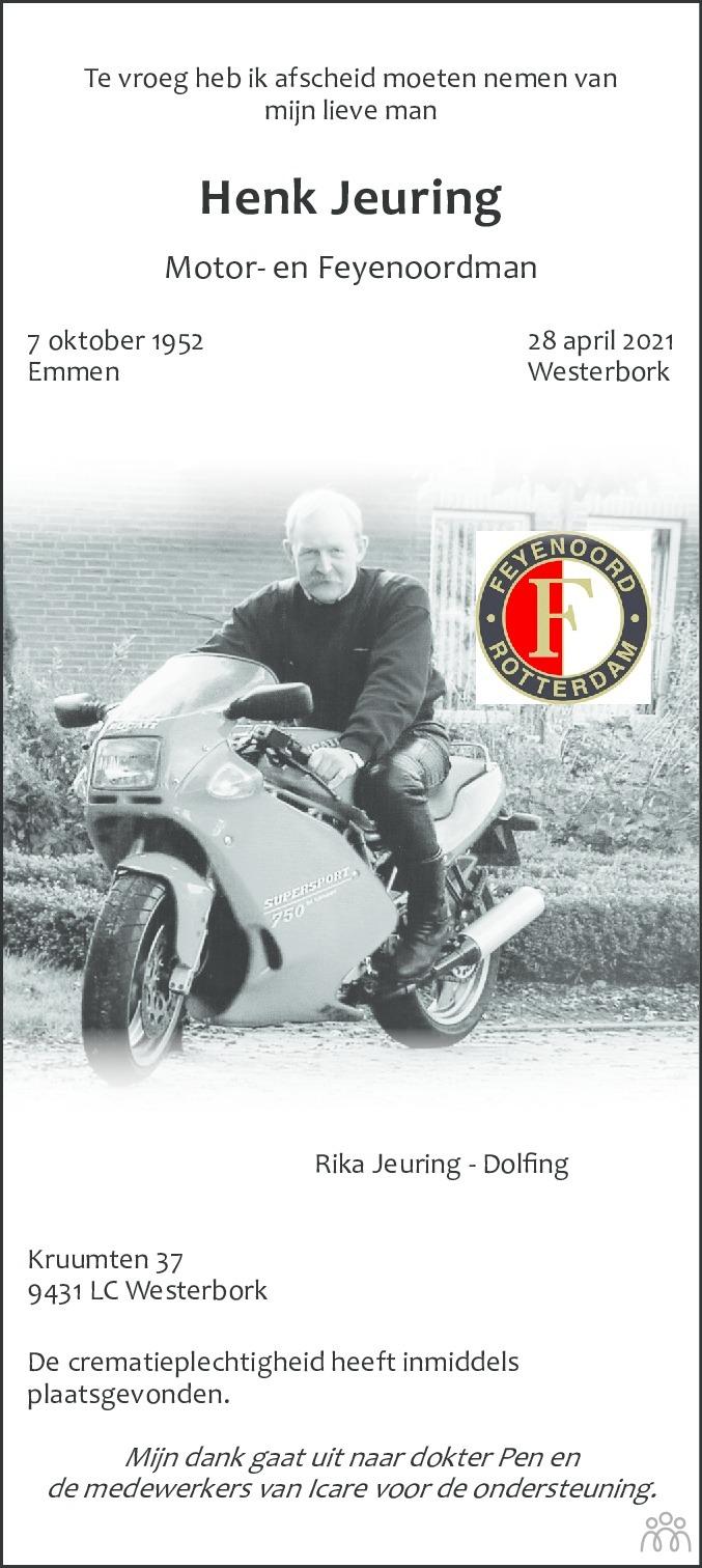 Overlijdensbericht van Henk Jeuring in De krant van Midden-Drenthe