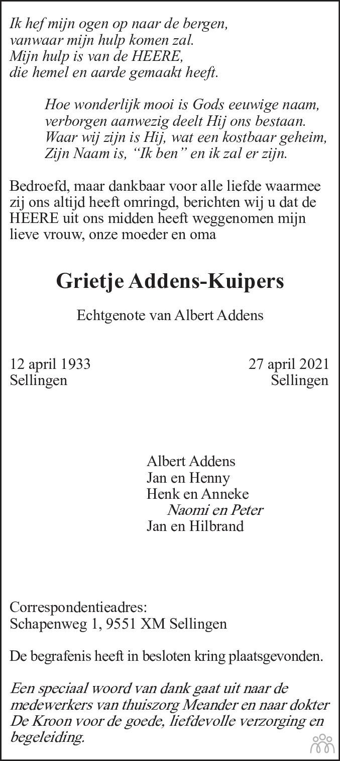 Overlijdensbericht van Grietje Addens-Kuipers in Streekblad/Pekelder Streekblad