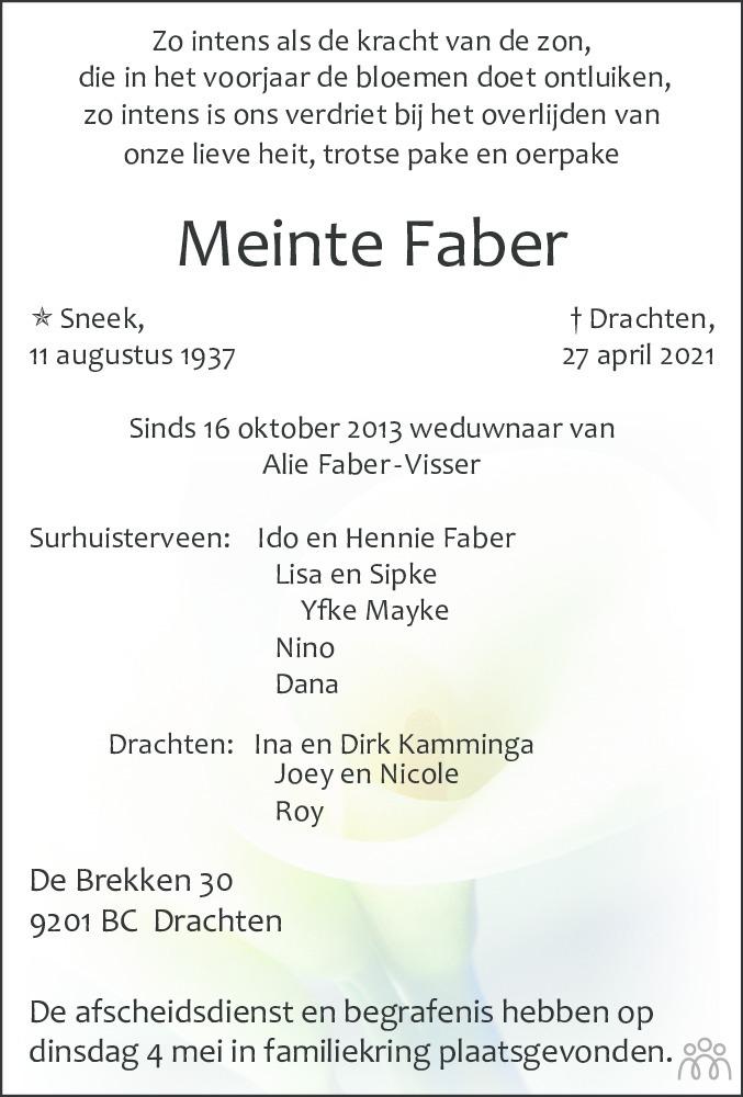Overlijdensbericht van Meinte Faber in Drachtster Courant