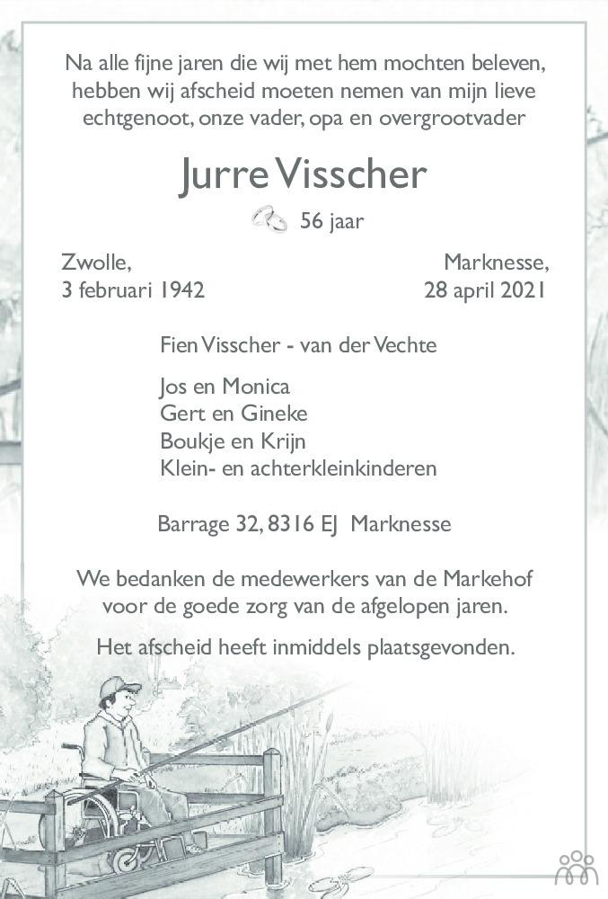 Overlijdensbericht van Jurre Visscher in Noordoostpolder