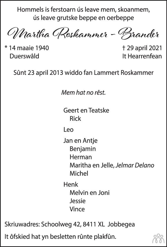 Overlijdensbericht van Martha Roskammer-Brander in Drachtster Courant