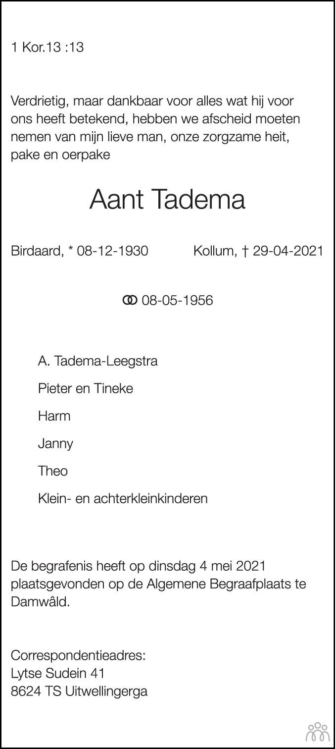Overlijdensbericht van Aant Tadema in Dockumer Courant