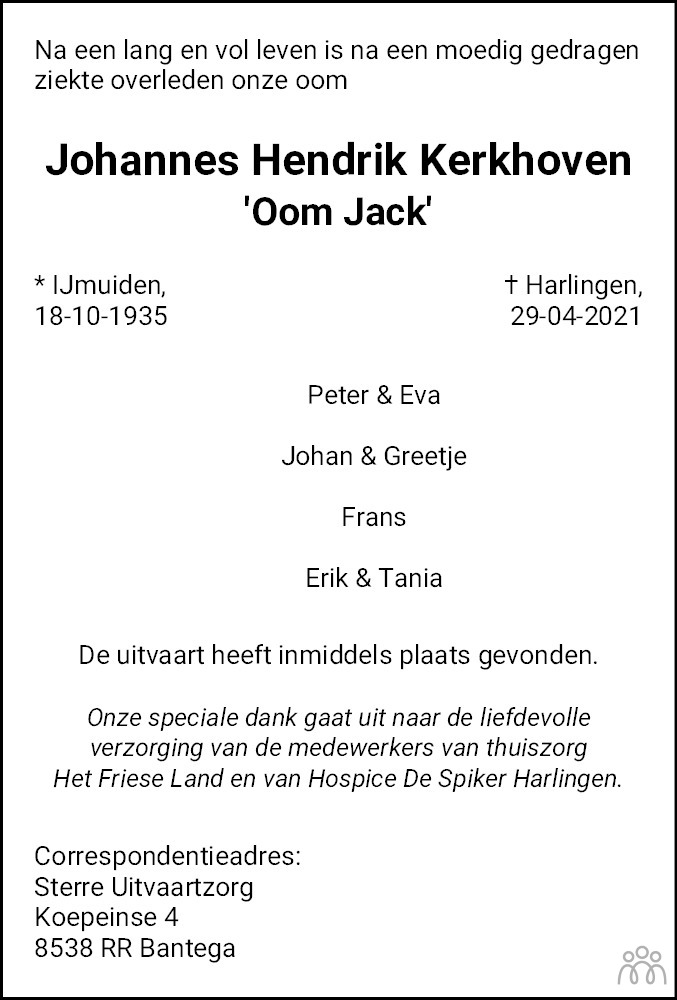 Overlijdensbericht van Johannes Hendrik (Jack) Kerkhoven in Franeker Courant