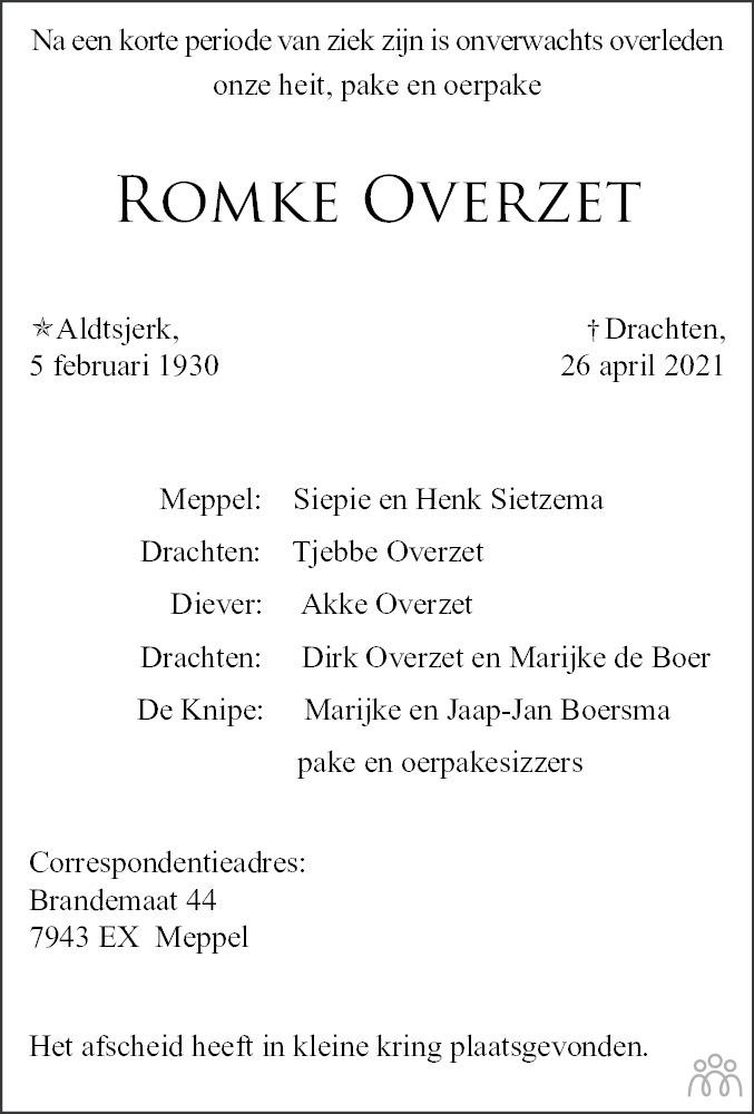 Overlijdensbericht van Romke Overzet in Drachtster Courant